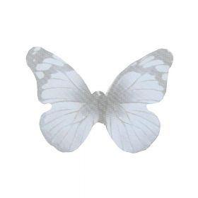 Butterfly wings / organza / 31x43mm / grey / 4pcs