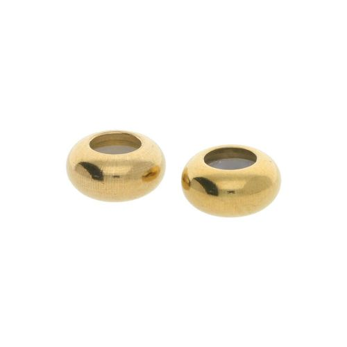 Silicone stoppers / surgical steel / 8x4mm / hole 1.2mm / gold / 2pcs