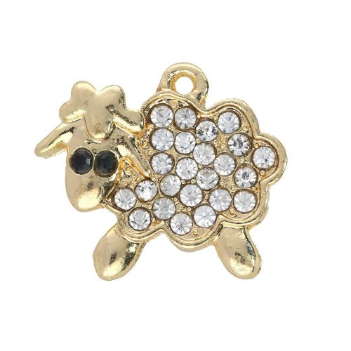 Glamm ™ Sheep / charm pendant / with zircons / 15x17.5x3mm / gold plated / 1pcs