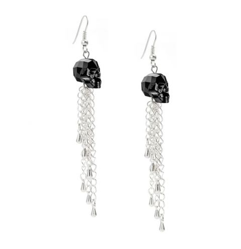 Jet Skull Earrings made with Swarovski