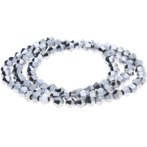 CrystaLove™ crystals / glass / bicone / 3mm / oxidised silver / lustered / 148pcs