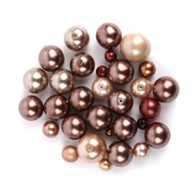 Preciosa Czech Glass Round Pearl Mix Brown 50g