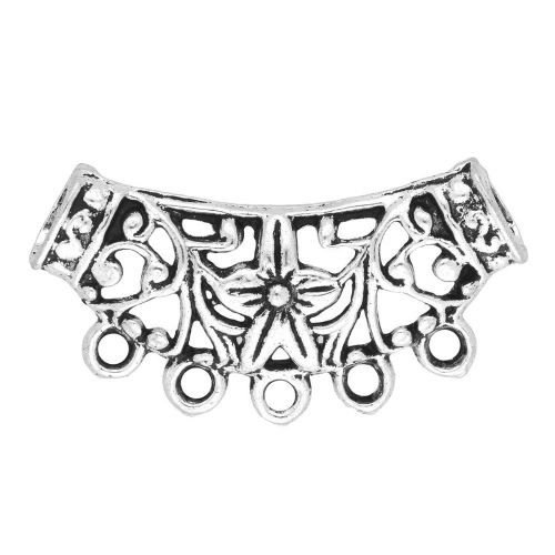Openwork tunnel / necklace base / 5 holes / 38x20x6mm / silver / 4mm hole / handle 2mm / 1pcs