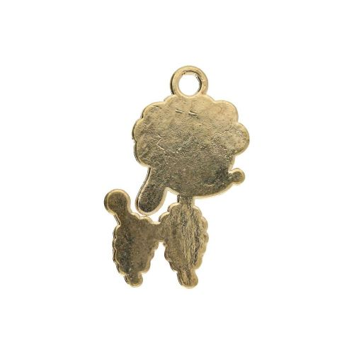 SweetCharm ™ Poodle / charm pendant / 24x14x1.5mm / gold plated / pink / 1pcs