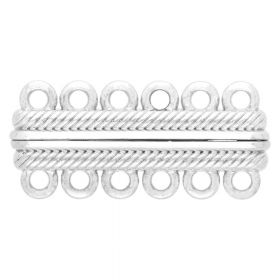 Magnetic clasp / wide / 6 loops / 17x38x7mm / silver / 2.5mm hole / 1pcs