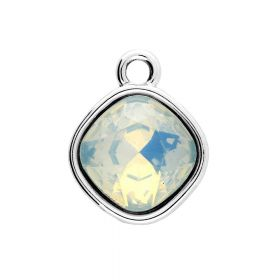 Glamm ™ Spotlight / charm pendant / with zircons / 20x16x8mm / silver plated / opal / 1pcs