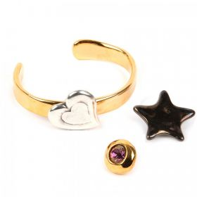 Gold Bangle Kit with Glue, Bag & 3 Pins - Star, Heart, Crystal