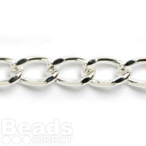 Silver Plated Curb Chain 7x12mm 1metre