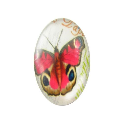 Glass cabochon with graphics oval 13x18mm PT1517 / pink / 2pcs
