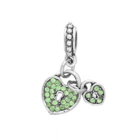 Glamm ™ Heart / charm pendant / with zircons / 25x10x3mm / silver plated / peridot crystals / 1pcs