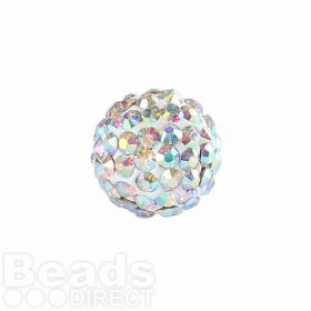 Clear AB Crystal Premium Shamballa Fashion 10mm Round Pk1