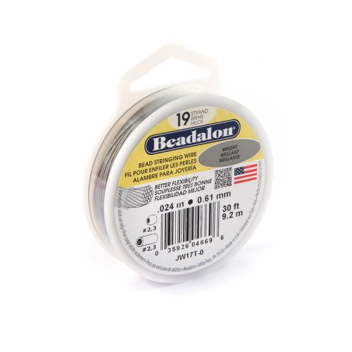 Beadalon 19 Strand Jewellery Wire 0.024 0.61mm Bright 30ft Reel