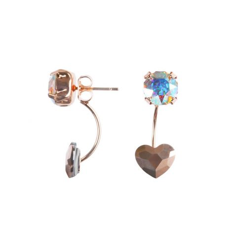 Rose Gold Heart Earrings made with Swarovski