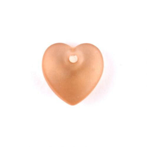 Preciosa Pressed Glass Hearts Frosted Topaz 10mm Pk10