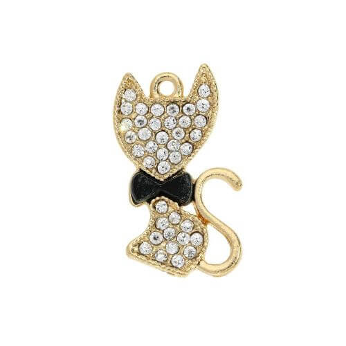 Glamm ™ Cat with bow tie / charm pendant / with zircons / 23x14mm / gold plated / 1pcs