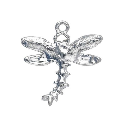 Glamm ™ Dragonfly / charm pendant / with cubic zirconia / 27x26x3.5mm / silver plated / Crystal / 1pcs
