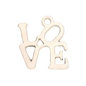 Love / charm pendant / 21x18mm / gold plated / 2pcs
