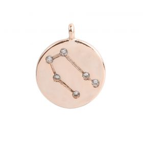 Rose Gold Plated Gemini Constellation Zodiac Charm 11mm Pk1