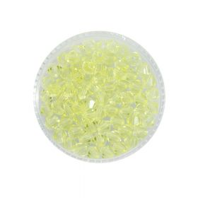 CrystaLove™ crystals / glass / bicone / 4mm / neon yellow / transparent / 110pcs
