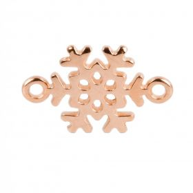 Rose Gold Plated Zamak Snowflake Connector 13x19mm Pack of 1