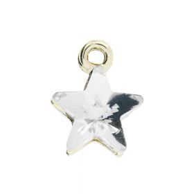 Glamm ™ Spotlight Star / charm pendant / with zircons / 12x10x6mm / gold plated /  Crystal / 1pcs