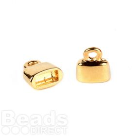 Gold Plated Flat Cord Ends 9x10mm for 5x2mm Cords 1xPair