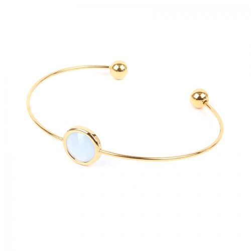 Ready to Wear Gold Plated Small Bangle Blue Glass Crystal