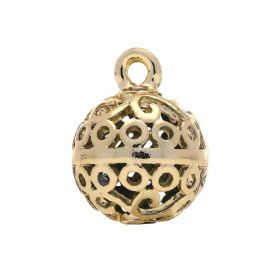 Openwork sphere / charm pendant / 19x14x14mm / gold plated / 1pcs