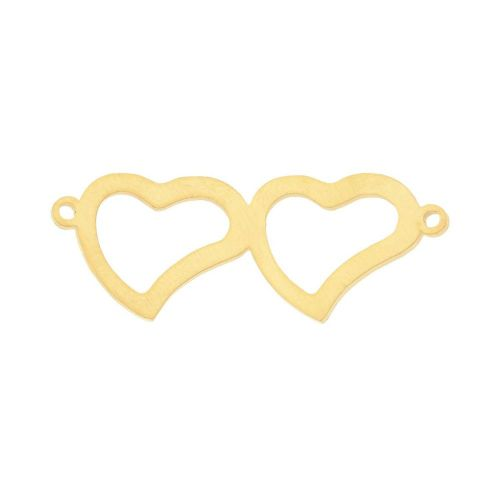Heart / connector / surgical steel / 12x32x1mm / gold / 1pcs