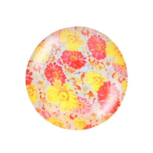 Glass cabochon with graphics K12 PT1452 / red-yellow / 12mm / 4pcs