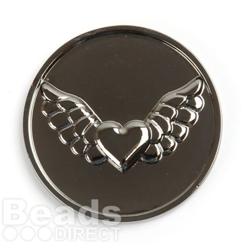 KB Rhodium Plated Heart and Wings Coin Disk for Interchangeable Locket 32mm Pk1