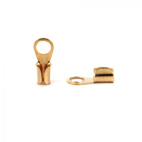 Gold Plated Fold Over Small Cord Ends 3x10mm Pk10
