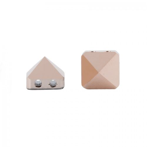 5061 Swarovski Square Spike Two Hole Bead 7.5mm Crystal Rose Gold Pk3