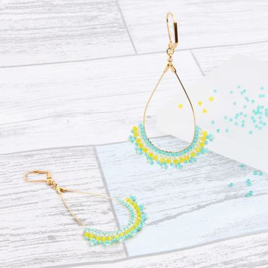 Tropical Brick Stitch Earrings