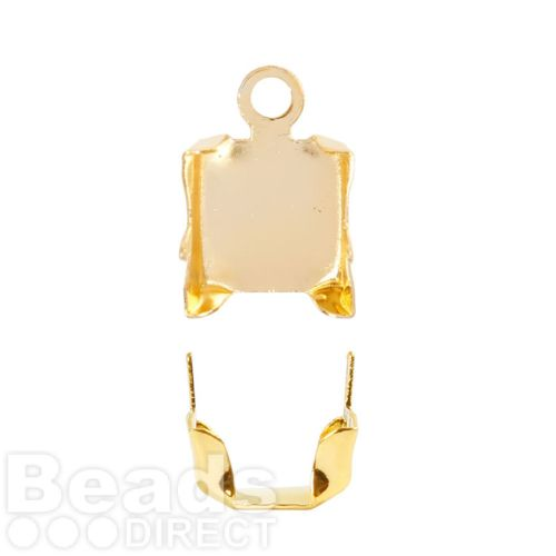 Gold Plated Brass Cupchain Ends for 6mm Cupchain Pk20