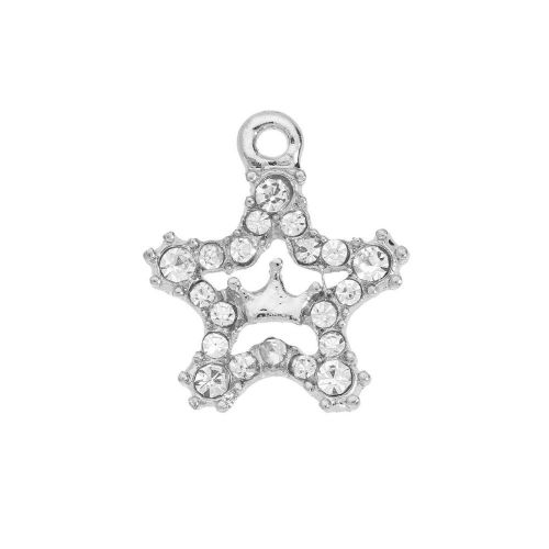 Glamm ™ Star with Crown / charm pendant / with zircons / 17.5x15.5mm  / silver plated / 1pcs