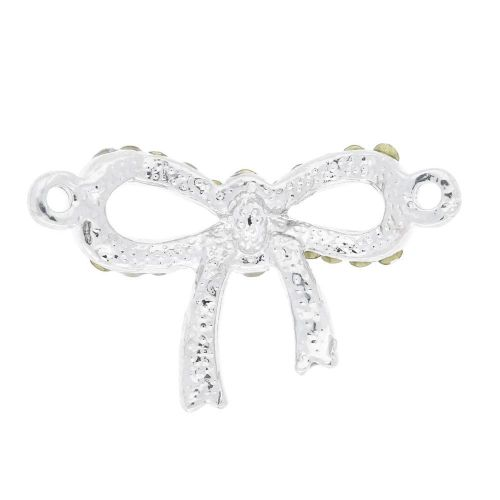 Glamm™ / bow / connector / 33 zircons / 24x15x4mm / silver-crystal / 1pcs