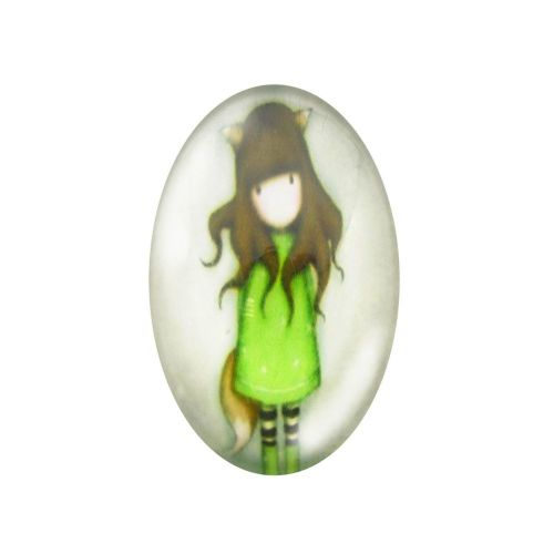 Glass cabochon with graphics oval 13x18mm PT1508 / green / 2pcs