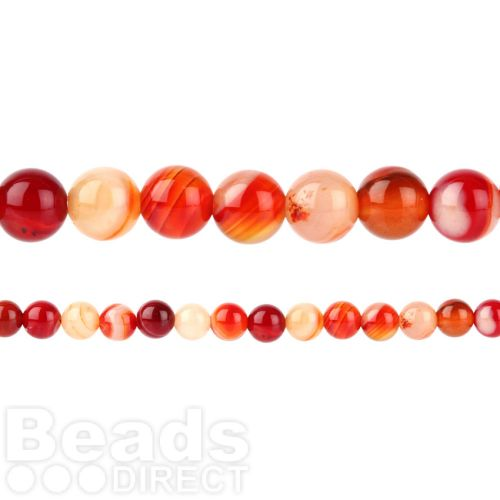 "X-Red Striped Agate Round Beads 6mm 15"" Strand"
