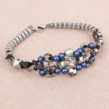 Iridescent Blue Spike Bracelet