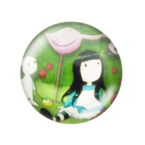 Glass cabochon  with graphics 20mm PT1511 / green / 2pcs
