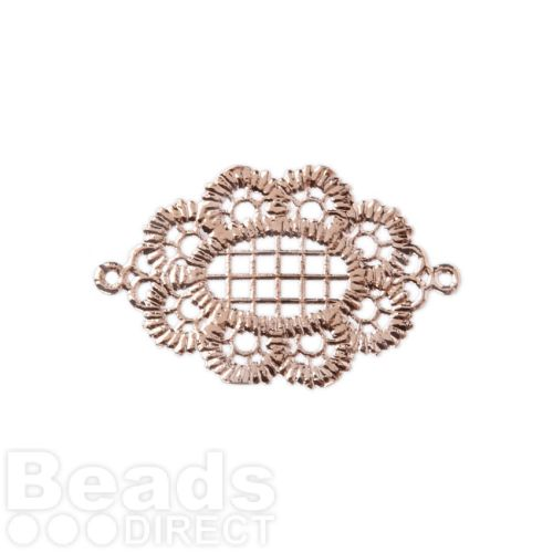X-Rose Gold Plated Lace Effect Oval Filigree Connector 18x25mm Pk1