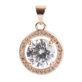 Rose Gold Plated Heart Round Charm w/Bail Zircon Crystals 14mm Pk1