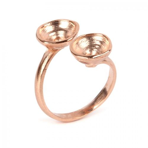 Rose Gold Plated Zamak Ring Base Adjustable holds 2x SS39 Chatons Pk1
