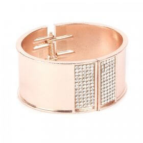 Rose Gold Plated Bangle Cuff Base with Crystals 65x55mm with diameter cord space-28mm Pk1