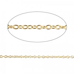 Gold Plated Trace Chain 2.5x3.5mm Pre Cut 1 Metre Length