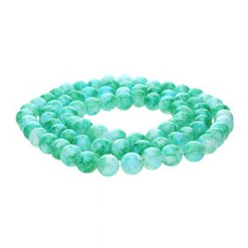 Candy™ / round / 8mm / green-turquoise / 100pcs