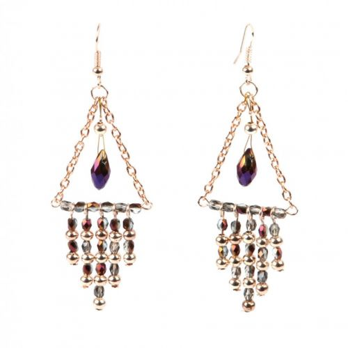 X-Purple and Rose Gold Shimmer Earrings Take a Make Break Kit - Makes 2 Pairs