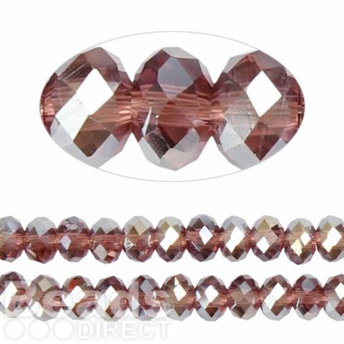 Chinese Crystal Faceted 8mm Rondelle Amethyst AB 72pack