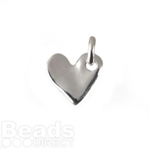 Sterling Silver 925 Irregular Heart Charm with ring 15x16mm Pk1